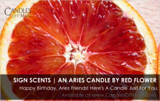 Red Flower Aries Candle